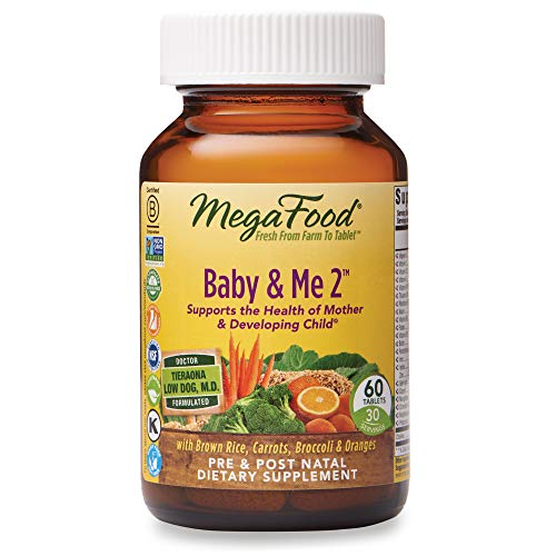 MegaFood, Baby & Me 2, prenatal vitamin with choline, iron, active form of folic acid, vitamin B12 & B6, non-GMO, vegetarian, Take 2 tablets daily, 60 tablets (30 day supply)