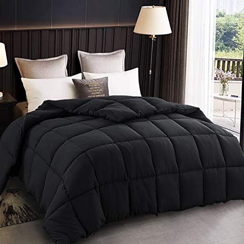 EDILLY All Season Oversized Queen Size Soft Quilted Down Alternative Comforter Hotel Collection Reversible Duvet Insert with Corner Tabs,Winter Warm Fluffy Hypoallergenic,98 by 98 Inches,Black