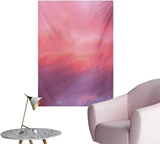 Anzhutwelve Coral Wallpaper Beautiful Vanilla Sky with Clouds Tenderness Dreamy Unreal Soft HeavenlyPale Pink Coral Lilac W32 xL48 Space Poster