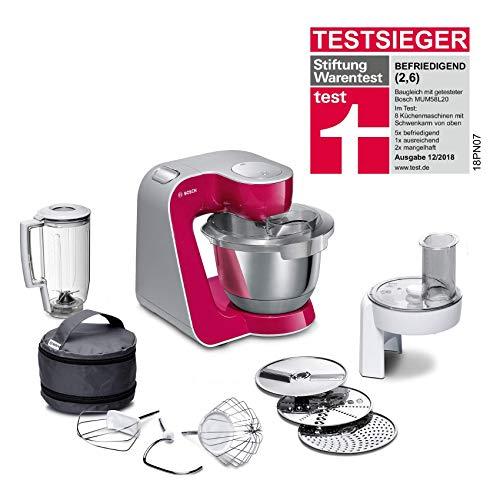 Bosch MUM5 CreationLine Küchenmaschine MUM58020, vielseitig einsetzbar, große Edelstahl-Schüssel (3,9l), Mixer, Durchlaufschnitzler, 1000 W, Rot Diamond/Silber