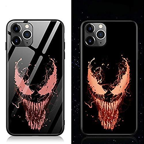 Adecuado para iphone 12 mini pro max, venom leopard spider goku caja de teléfono de vidrio templado luminoso milagro funda de silicona de lujo