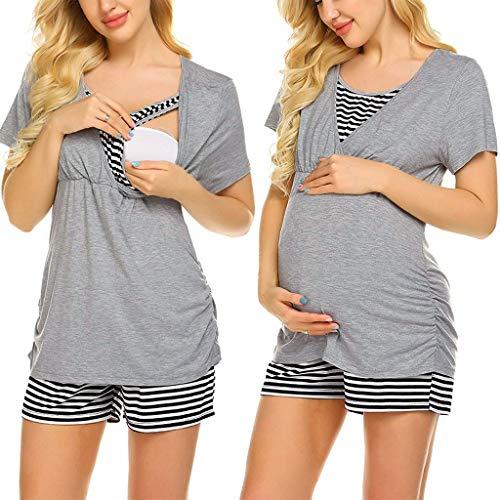 Ucoolcc Schwangere Frauen kurzärmelige gestreifte Farbe passend zum Still-Top T-Shirt + einstellbare gestreifte Shorts Pyjama-Set - Damen nachtwäsche - günstige Umstandsmode