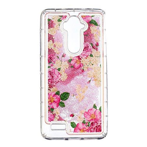 COZY HUT ZTE Z986 Glitzer Hülle, Treibsand 3D Shiny Transparent Back Cover Glitzer Handyhülle Skin Schale Beschützer Haut Case für ZTE Z986 - Weiße Rose