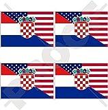 USA Vereinigte Staaten von Amerika und KROATIEN Hrvatska, Amerikanisch und Kroatisch Flagge, Fahne 50mm Auto & Motorrad Aufkleber, x4 Vinyl Stickers