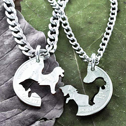 Fox and The Hound Best Friends Necklaces, Dog and Fox, Hunting BFF Gifts, Best Friends Forever Jewelry, Hand Cut Coin, By NameCoins