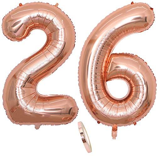 """2 Globos Número 26 Años, Number 26 Globo Chica de oro rosa, 40""""Figuras de globos con globo de lámina de helio inflable, Globo gigante para la decoración de la fiesta de cumpleaños, Prom (xxxl 100cm)"""