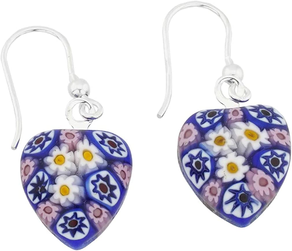 High quality new GlassOfVenice Rapid rise Murano Glass Millefiori Silver Earrings Heart -