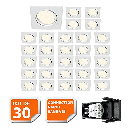 LOT DE 30 SPOT ENCASTRABLE ORIENTABLE CARRE LED SMD GU10 230V BLANC RENDU ENVIRON 50W HALOGENE