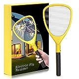 Fullsexy 2020 Raqueta Matamoscas Eléctrico Grande de Actualización, Eliminador de Insectos de Mano de Alto Voltaje, Raqueta Asesina de Mosquitos para Interiores y Exteriores