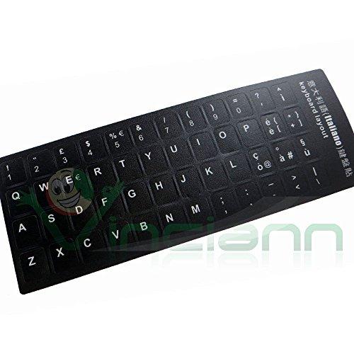 Lettere adesive tastiera italiana fondo nero lettera bianca stickers adesivi