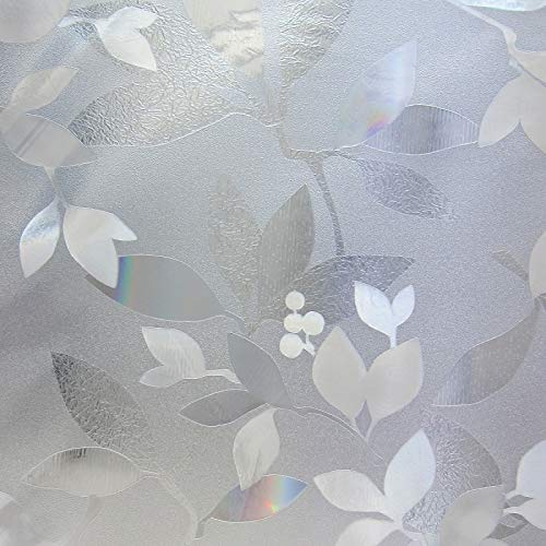 Leaves Design Glass Sticker Static Cling Durable Reusable Removable Home- film A120 45x200cm