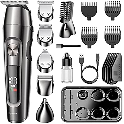 DynaBliss Beard Trimmer Hair Clipper Hair Trimmer Clippers for Men Cordless Haircut Kit for Men Kids Adults LED Display USB Body Trimmer