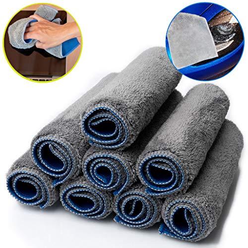 8x Mikrofaser Staubtuch Microfaser Putzlappen 29x21cm Putztuch fürs Auto Putztücher Set blau grau