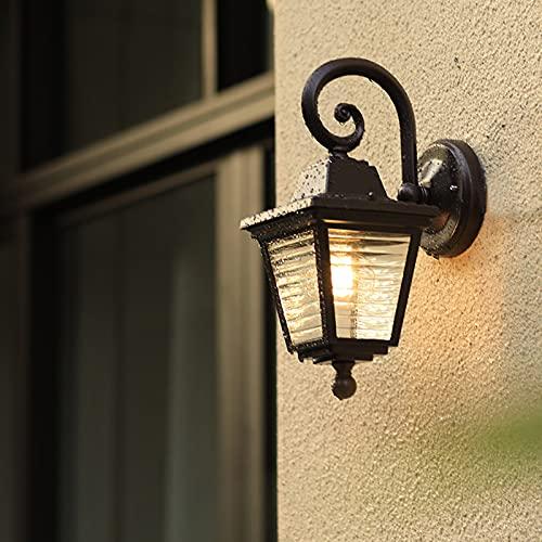 SXNYC Lanterna Vintage da Esterno, Lampada da Parete Impermeabile per Esterni con Alluminio Pressofuso in Nero con Vetri Trasparenti, E27
