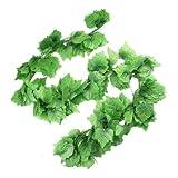 TOOGOO (R) 12 x Parra de Uva Artificial Verde Decoracion de Casa 7.5 Pies
