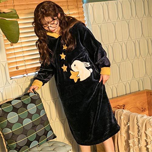 DUJUN Damen-Nachthemd mit Kapuze, Flanellfarbener Dicker Bademantel, Langärmliger, Warmer Schlafanzug für den Herbst und Winter,A8 XL