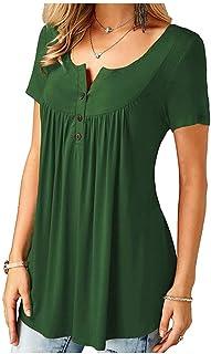 Fyuanmeiinsdxnv Womens tops summer Casual Summer Women Loose T-Shirt Short Sleeve Tops Ladies Solid Tee Plus Size S-3XL (C...