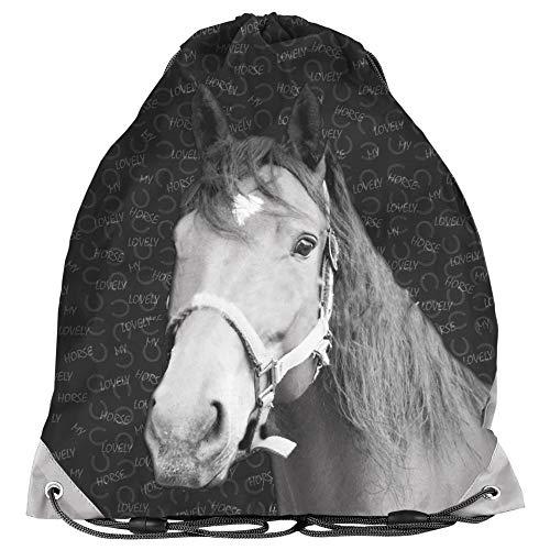 Bolsa de deporte para niños, 36 x 32 cm, diseño de caballo, color negro/gris