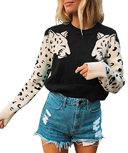 Angashion Women's Sweaters Casual Leopard Printed Patchwork Long Sleeves Knitted Pullover Cropped Sweater Tops Black L