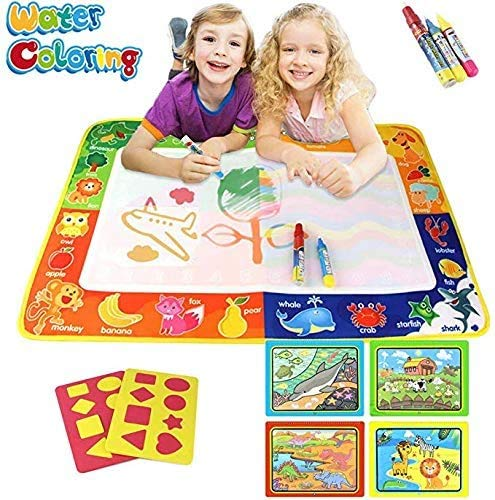 "Joyjam Toys for 2-4 Year Old Girls Boys Aqua Magic Doodle Water Doodle Mat Set 30"" X 20"" Mess Free Painting Drawing Board Water Coloring Books for Toddlers with 3 Pens Kids Birthday Gifts SHB"