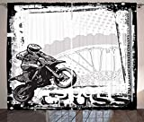 Ambesonne Motorcycle Curtains, Motocross Racer Image Grungy Background Poster Style Monochromic Art Print, Living Room Bedroom Window Drapes 2 Panel Set, 108' X 84', Black White
