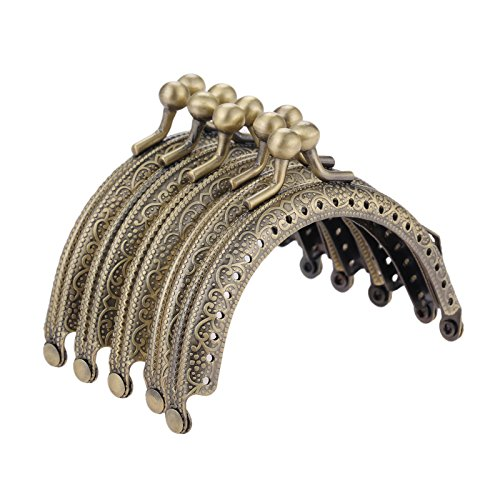 Bronze Metal Frame Purse, Coin Bag Kiss Clasp Lock, 5Pcs Metal Purse Frame for DIY Coin Bag Handle Sewing Craft, Dia.3.3'/8.5cm