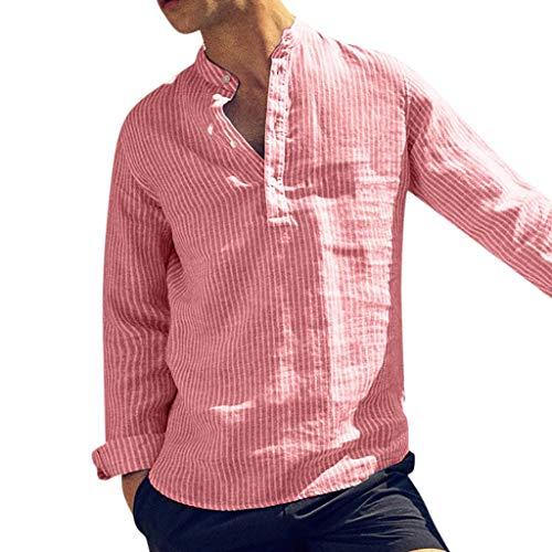 MINIKIMI hemd heren lange mouwen met gestreept vrijetijdshemd met knoop mannen lange mouwen omslaag blouse groot groot groot overhemd tops