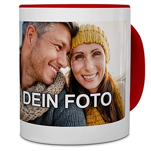 PhotoFancy® - Tasse mit Foto Bedrucken Lassen - Fototasse Personalisieren – Kaffeebecher zum selbst gestalten (Rot)