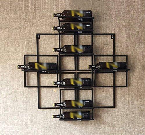 ZHDC® Casier à bouteilles Art de fer Porte-bouteilles mural Créativité suspendu Porte-bouteilles Simple Ménage noir Porte-bouteilles Longueur 80 × largeur 10 × hauteur 80cm Multifonctions
