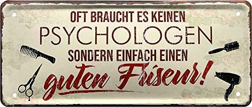 Cartel de chapa con texto en alemán 'Oft braucht es keine Psicologen Friseur', cartel decorativo de metal para entrada de puerta, regalo de cumpleaños o Navidad Salón Barber Shop 28 x 12 cm