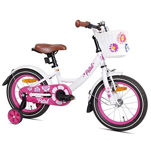 HILAND Petal 12 Zoll Kinderfahrrad für Mädchen 2-4 Jahre mit Korb, Stützräder, Handbremse und Rücktritt Weiß