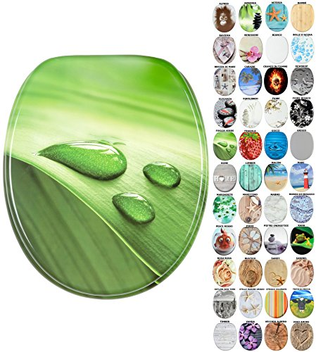 Sedile WC, grande scelta di belli sedili WC da legno robusto e di alta qualità (Foglia Verde)