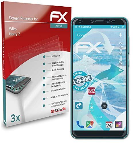 atFolix Schutzfolie kompatibel mit Wiko Harry 2 Folie, ultraklare & Flexible FX Bildschirmschutzfolie (3X)