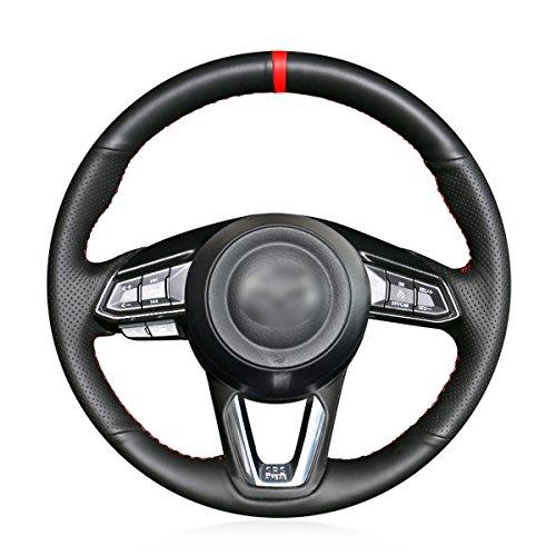 MEWANT Funda de Volante Cubierta de Volante Personalizada Hecha De Cuero Sintético Cuero De Microfibra Coser a Mano para Mazda 3 Mazda 6 CX-3 CX-5 CX-9 para Toyota Yaris 2019 para Toyota Yaris 2019