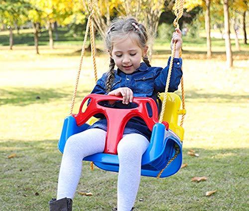 Huike kinderschommel babyschommel 3-in-1 babystoel verstelbaar schommelstoel tuinschommel voor baby en kinderen met rugleuning en veiligheidsriem vrije schommel met in hoogte verstelbaar touw