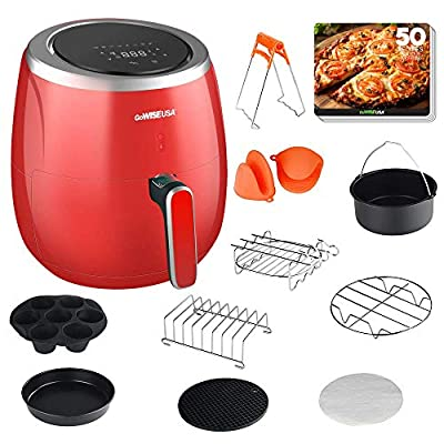 GoWISE USA GWAC982 XL 5.3-Quart Air Fryer with Accessories, 10 Piece, 8 Cooking Presets + 50 Recipes (Red)