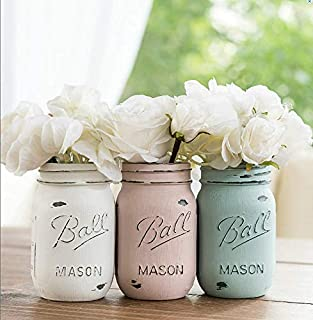 Blue, Pink, Cream- Set of (3) - Custom Painted Mason Jar - Mason Jars Centerpiece Vases Decor
