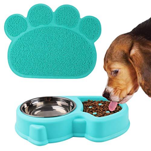 RCruning-EU Ciotola Cane Ciotole Doppia per Cani e Gatti in Acciaio Inox con Tappetino per Gatti e Cani di Piccola Taglia - Blu (Blu)