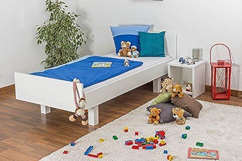 Kinderbett Jugendbett Buche massiv Vollholz Weiß lackiert 116, inkl. Lattenrost - Abmessung 90 x 200 cm