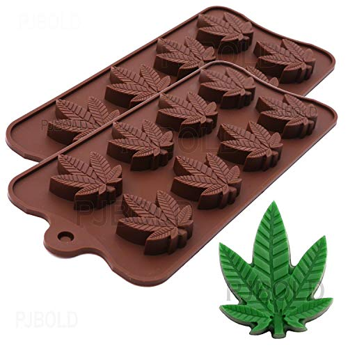 Marijuana Cannabis Weed Hemp Leaf Silicone Molds for Pot Candy Mold Chocolate Gummy Gummies, 2 Pack
