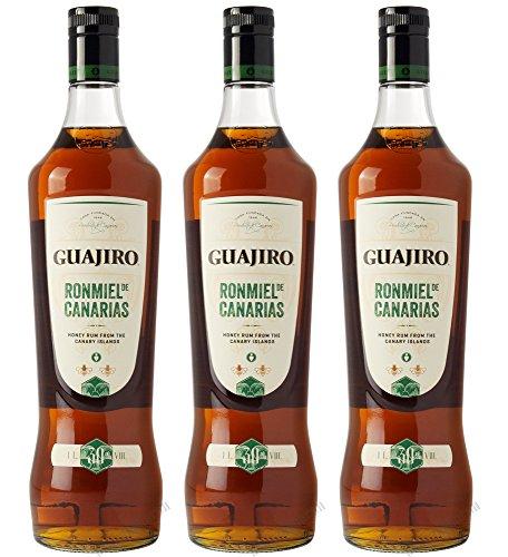GUAJIRO Ron Miel Honig Rum 30% von den Kanaren Sparpaket 3 x 1 Liter
