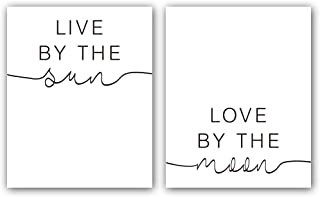 """Live by The Sun-Love by The Moon Art Print Set of 2 (8""""X10""""), Modern Minimalist Typography Print, Inspirational Canvas Wall Art Poster for Yoga Room Decor, No Frame"""