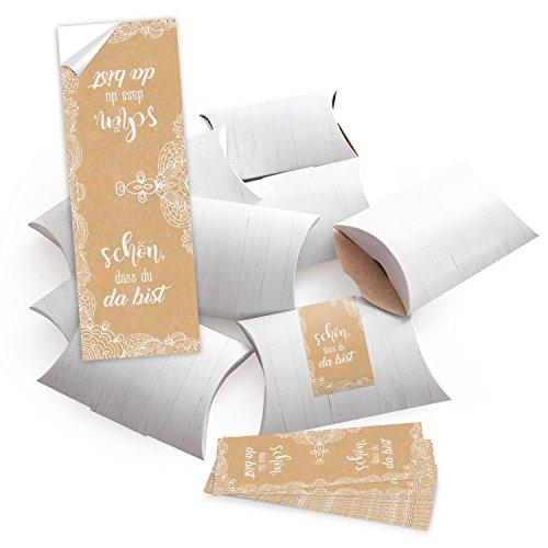 25 kleine Mini-Schachtel weiß 14,5 x 10,5 cm ca. 3 cm + 25 SCHÖN DASS DU DA BIST Aufkleber 5 x 15 cm Verpackung beige creme-farben Spitze vintage Hochzeits-Deko Tischschmuck Geburtstag Namensschild