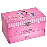 SONGMICS Ballerina Spieldose & Schmuckkästchen, kleine Musikbox, 19 x 11.2 x 10.9 cm