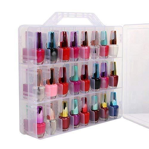 Portable transparent boîte d'affichage de stockage de vernis à ongles avec double faces, capacité maximale de 48 bouteilles d'espace réglable
