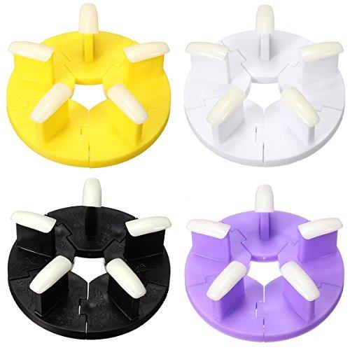 Bureze 4 couleurs Plastique amovible Faux ongles présentoirs Practise Outil de manucure support