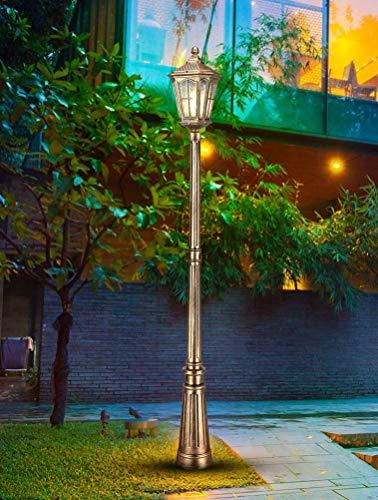 IUHUA Luz de jardín de Vidrio Impermeable para césped, Poste de Pilar Europeo, luz de Columna, Villa de Aluminio, Patio comunitario, Patio, balcón, Poste Alto, Paisaje, lámpara de pie para Exteriores