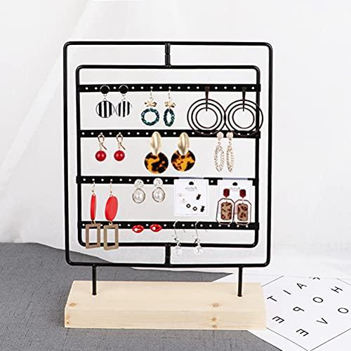 YOTINO Soporte para joyas y pendientes Soporte expositor para joyasOrganizador de pendientes, soporte de pulsera y base de madera, almacenamiento de joyas con anillo y cadenas- negro