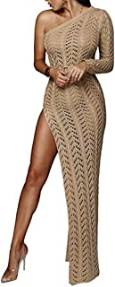 Speedle One Shoulder Crochet Dresses for Women Beach Long Sleeve Hollow Out Side Split Knit Dress
