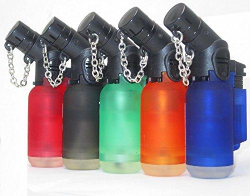 Pack of 5 Single Jet Flame Torch Lighter Windproof Refillable Cigarette Lighter Red,Black,Green,Blue,Orange